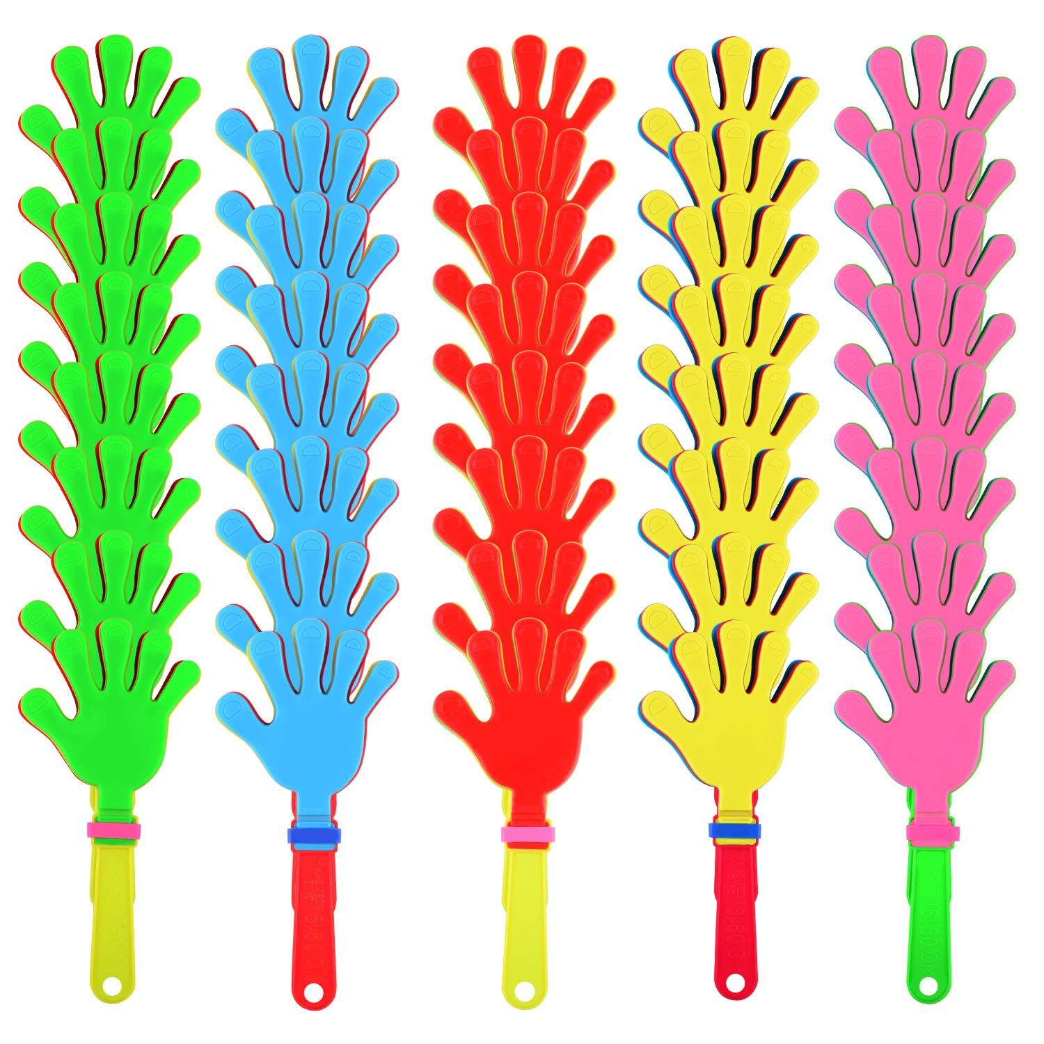 Sunshane 40 Pieces Plastic Hand Clappers Noise Makers Noisemaker Game Accessories for Fiesta Party Birthday Favors and Supplies, 7.5 Inch by Sunshane