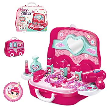 Deardeer Kids Pretend Play Makeup Set with Mirror, Hairdryer, Comb and Accessories with Protable