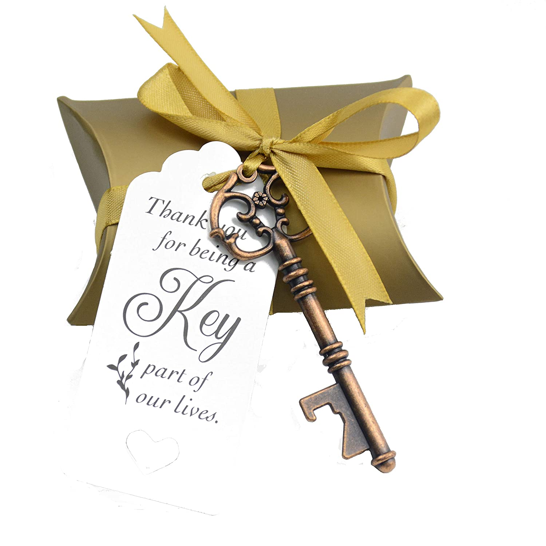 50pcs Wedding Favor Souvenir Gift Set Pillow Candy Box Vintage Skeleton Key Bottle Openers Thank You Gift Tag Silk Ribbon (Antique Copper)