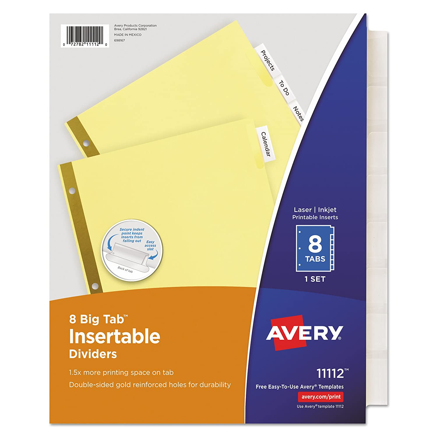 Amazoncom Avery Insertable Big Tab Dividers Tab Letter - Avery print on tabs template