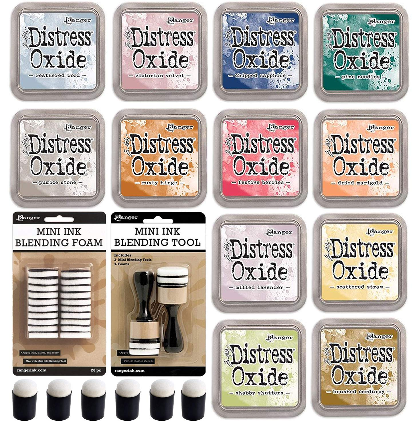 Ranger Tim Holtz Distress Oxide Ink Pads Fall 2018 Colors with 6X Pixiss Mini Finger Blending Tools Daubers, Mini Ink Blending Round Tool, 20x Replacement Foams