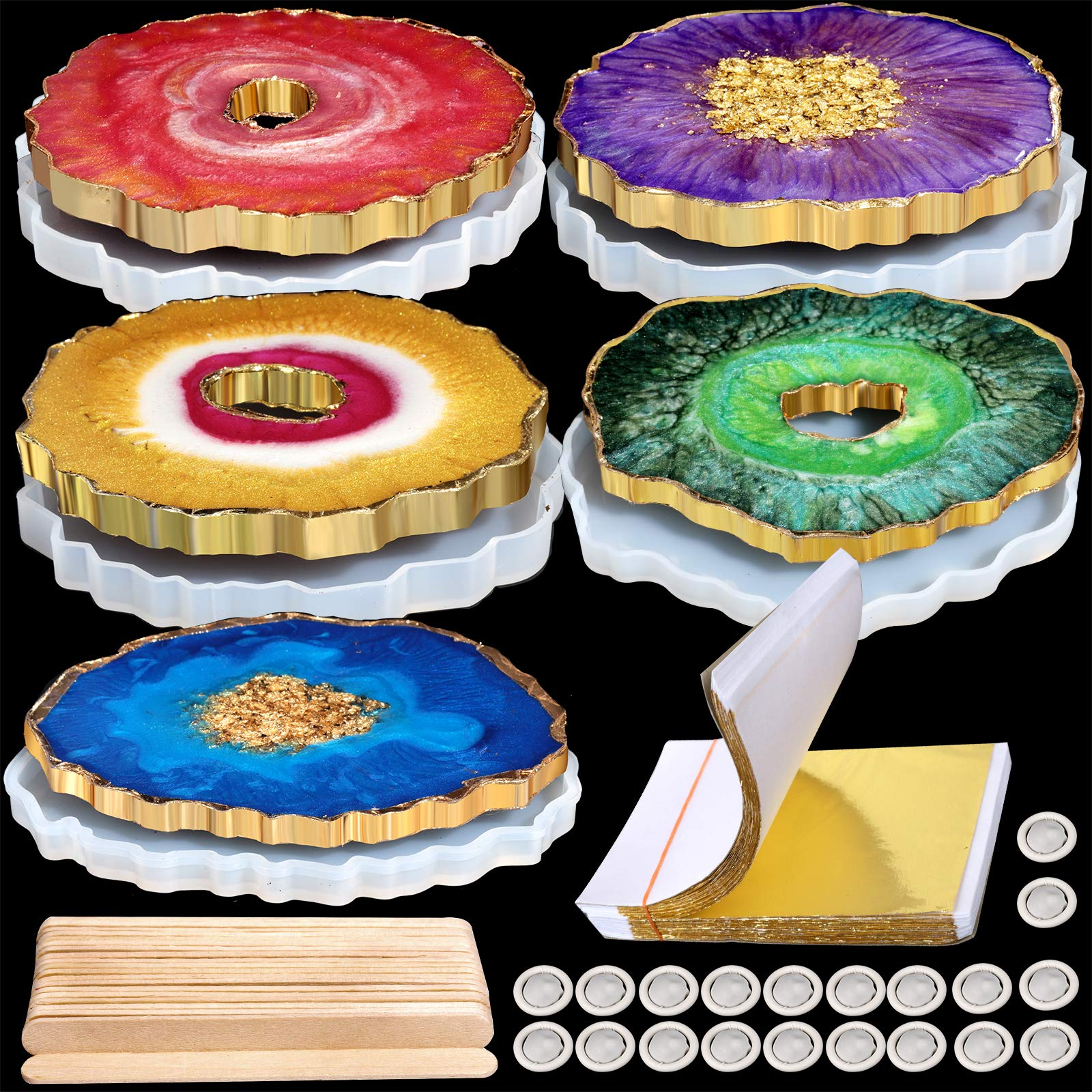 LEOBRO 5 Pack Coaster Resin Molds, Silicone Coaster Molds, 100 Pcs Shiny Gold Leaf, 20 Pcs Wood Mixing Sticks, 20 Pcs Finger Cots