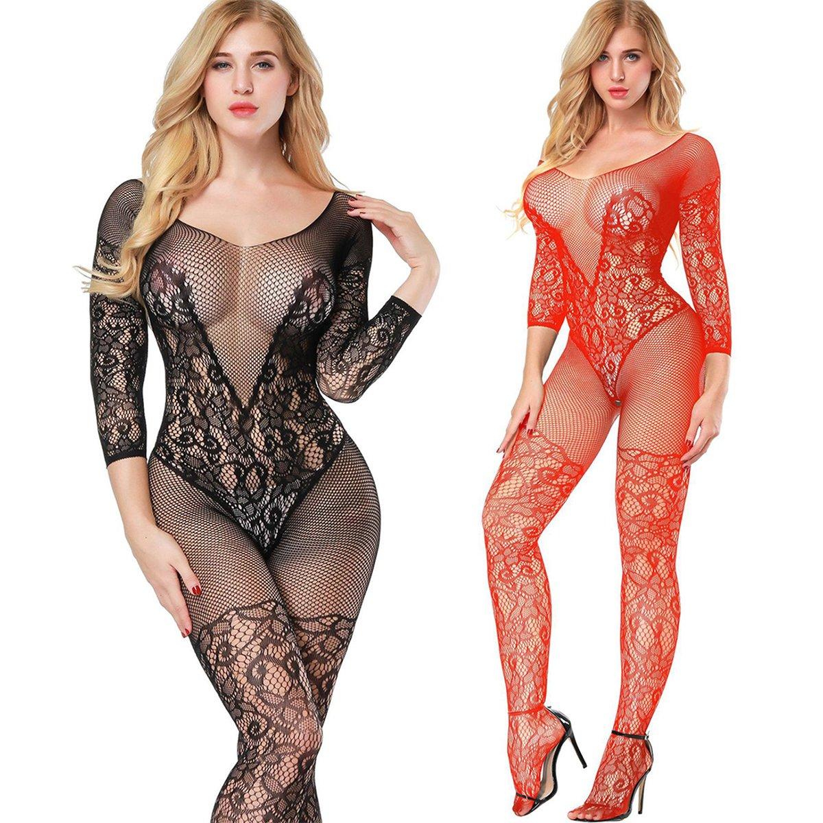 2-Pack Donna Cavallo Aperto Maglia Pesce Netto Calza Corpo Body Lingerie camicia da notte vestito da notte (nero+rosso)