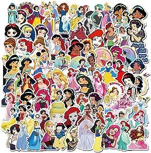 100PCS Disney Princess Stickers,Cute Cartoon Laptop Stickers Decals for Water Bottle Laptop Phone Graffiti Decal(Cute Princess)