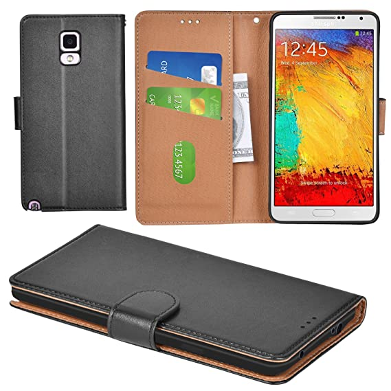 new concept 32554 960e1 Aicoco Galaxy Note 3 Case Flip Cover Leather Wallet Phone Case for Samsung  Galaxy Note 3 - Black
