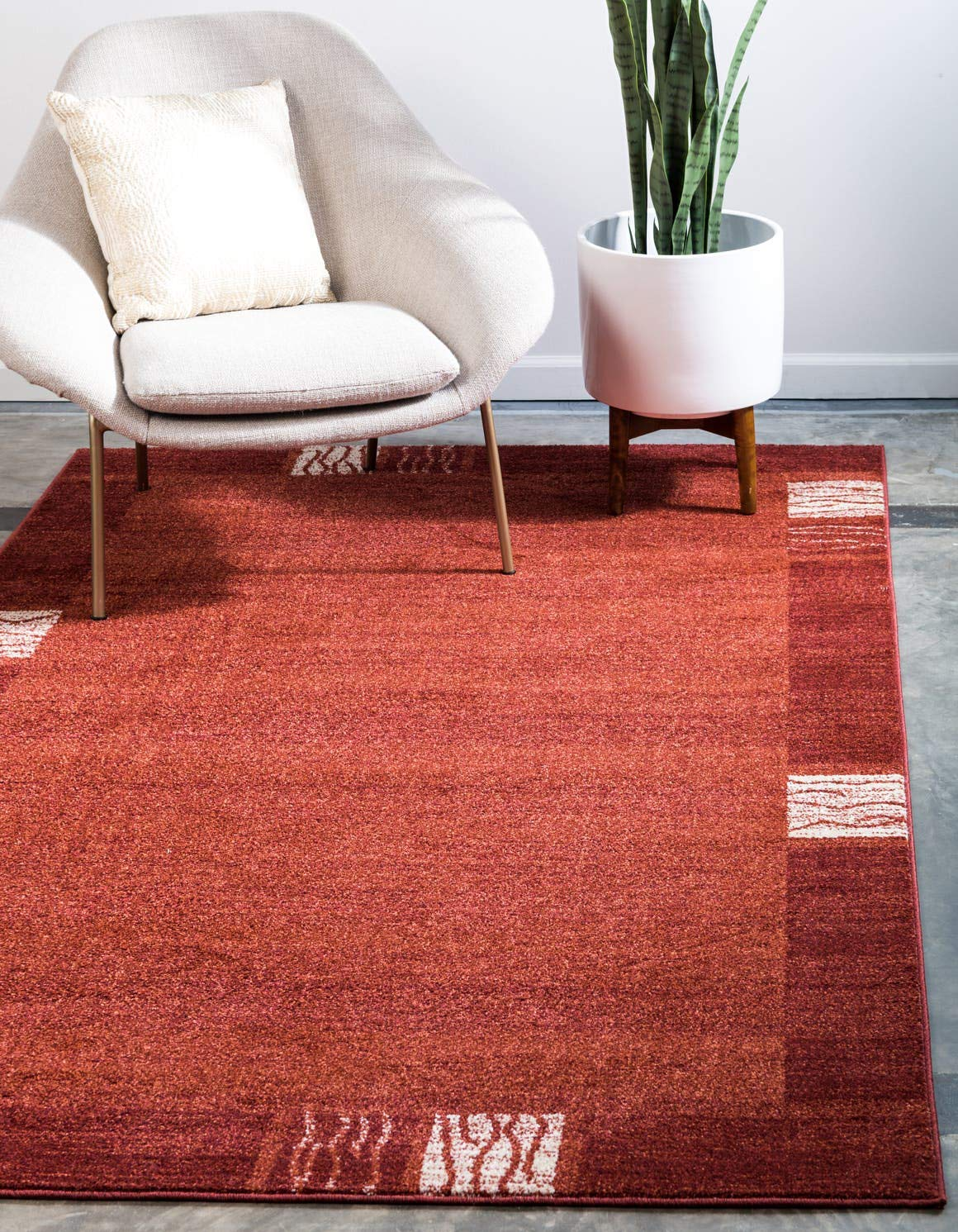 Unique Loom Del Mar Collection Contemporary Transitional Rust Red Area Rug 3 3 x 5 3