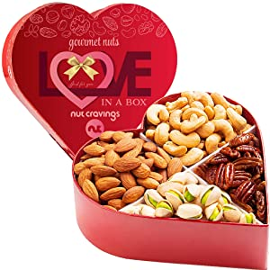 Gourmet Nut Gift Basket in Heart Box (4 Piece Assortment) - Fathers Day Prime Arrangement Platter, Birthday Care Package Variety, Healthy Food Kosher Snack Tray for Mom, Families, Women, Men, Adults