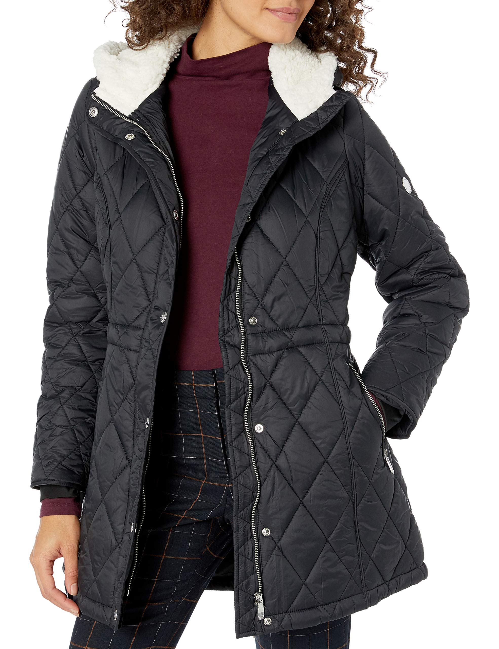 Steve Madden Women's Quilted Anorak with Hood, Nylon with Sherpa Black, L by Steve Madden