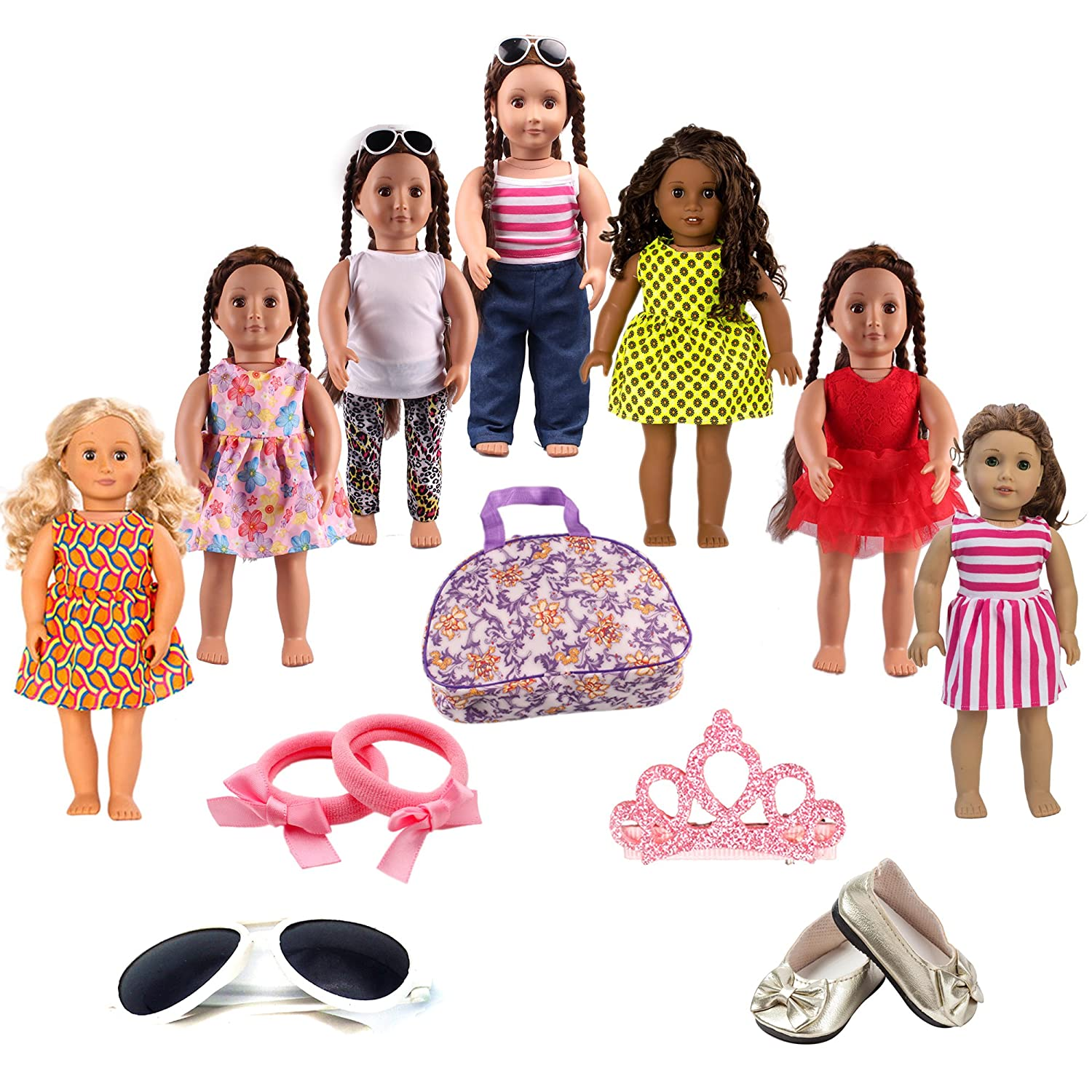 """7 Complete Outfits American Girl Doll Clothes Wardrobe Makeover Fits 18/"""" Doll"""