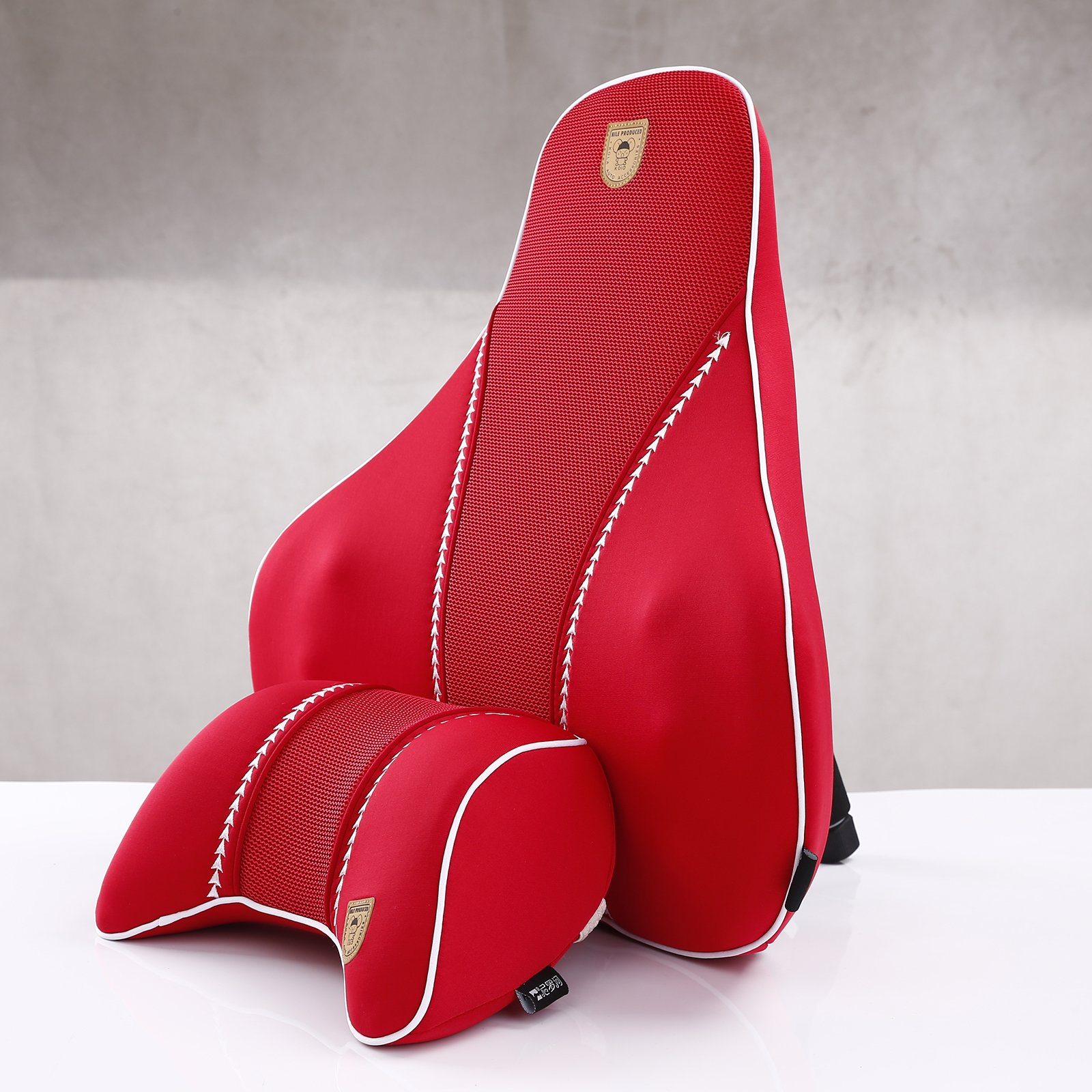 MeiBoAll Auto Car Seat Backrest Memory Foam Car Lumbar Cushion and Car Neck Pillow Use for Travel and Car Chair Red