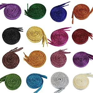 MarJunSep Shimmery glitter 42 Solid Colors Flat Shoelaces Shoe Laces strings for Teams Cheer Dance Sneakers (Color: Multicolored, Tamaño: Free Size)