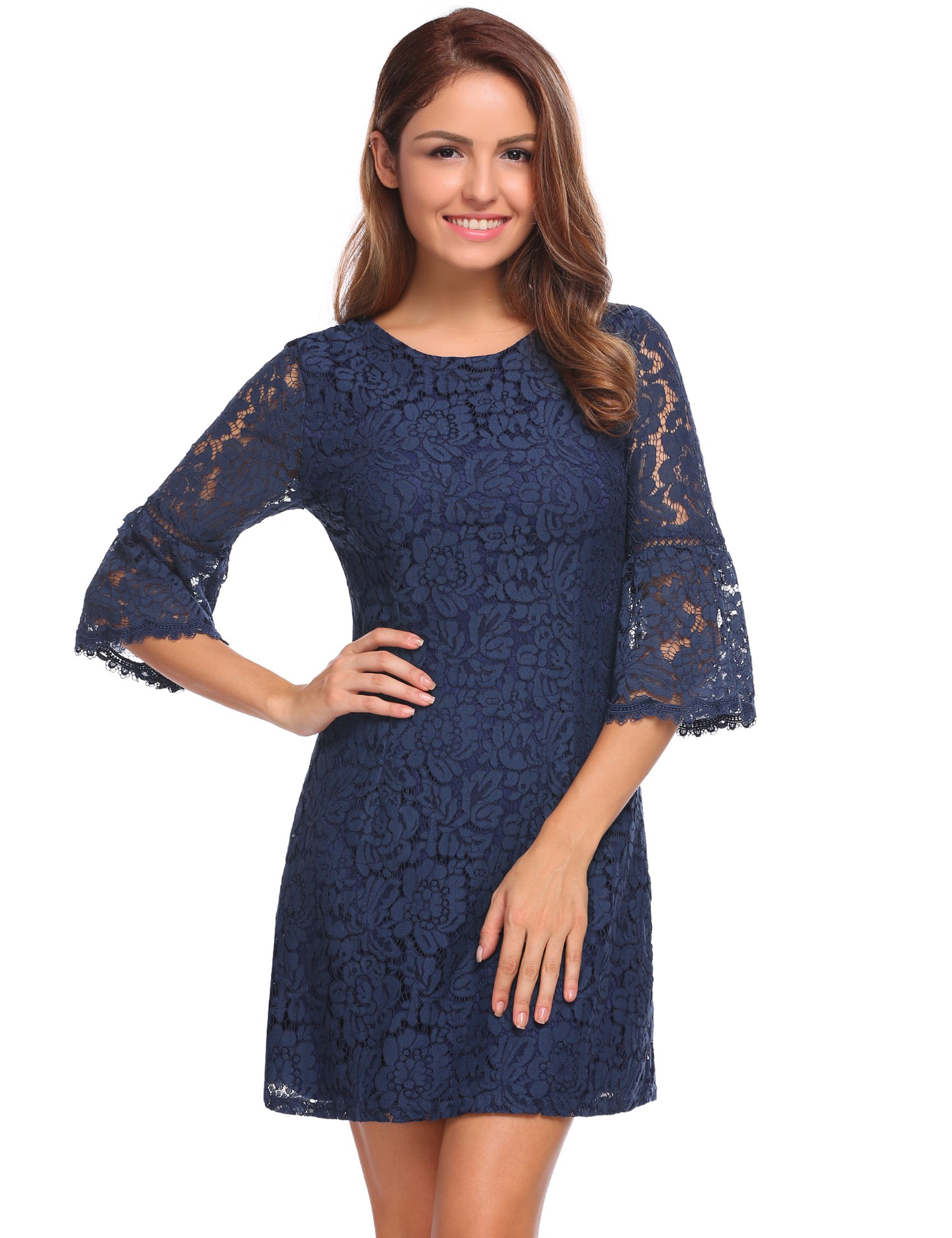 Zeagoo Women's 3/4 Flare Sleeve Chic Floral Lace A-line Cocktail Family Party Dress (Medium, Navy Blue)