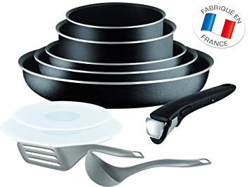b6d94ef43414d Tefal L2009802 Set de poêles et casseroles - Ingenio 5 Essential Noir Set  10 Pièces -
