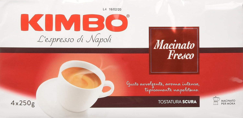 Kimbo Caff� Macinato Fresco - Pacco da 4 x 250 gr (Totale 1000 gr)