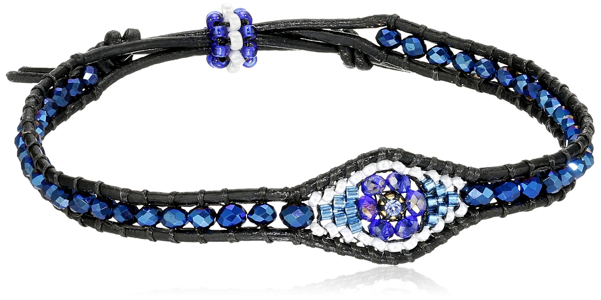 Miguel Ases Tanzanite Hydro-Quartz Evil Eye Leather Slip-Knot Bracelet by Miguel Ases