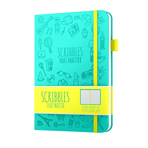 Dotted Journal By Scribbles That Matter - Create Your Own Unique Life Organizer - No Bleed A5 Hardcover Dotted Notebook With Inner Pocket - Fountain Pens Friendly Paper - Iconic Version - Teal
