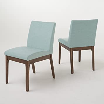 Katherine Mid Century Modern Mint Fabric/ Walnut Finish Dining Chair (Set  Of 2)