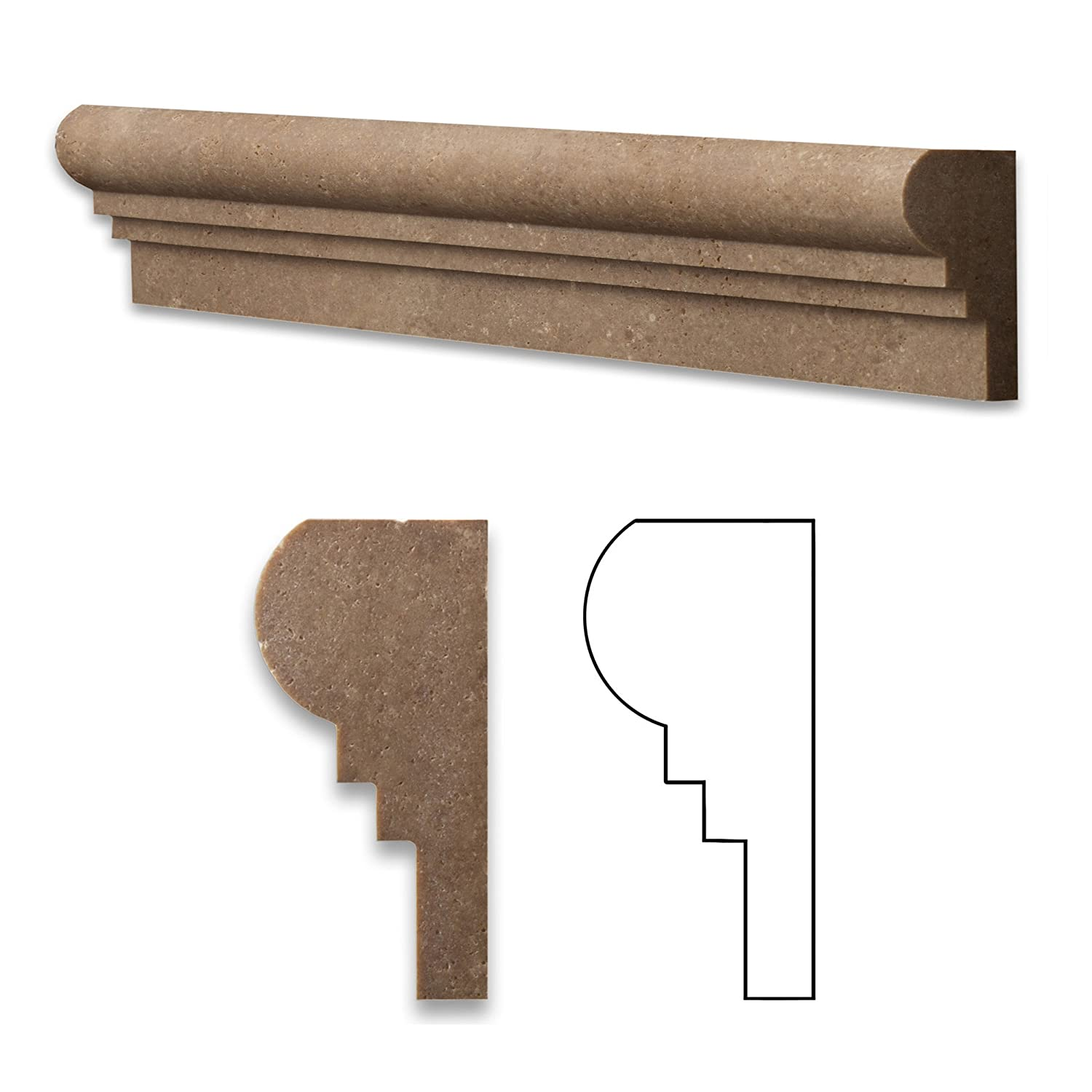 Noce 2 1/2 X 12 Travertine Chair Rail OGEE-2 Molding - Wood Moldings ...