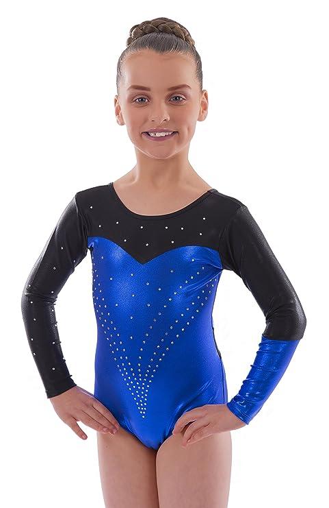 Vincenza Dancewear Deluxe 'Holly' Metallic Deep Blue/Black with encrusted  Diamante Sleeved Leotard