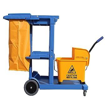 Carro de limpieza Profesional Plástico con tres bandejas, saco de vinilo de 100 Lt.