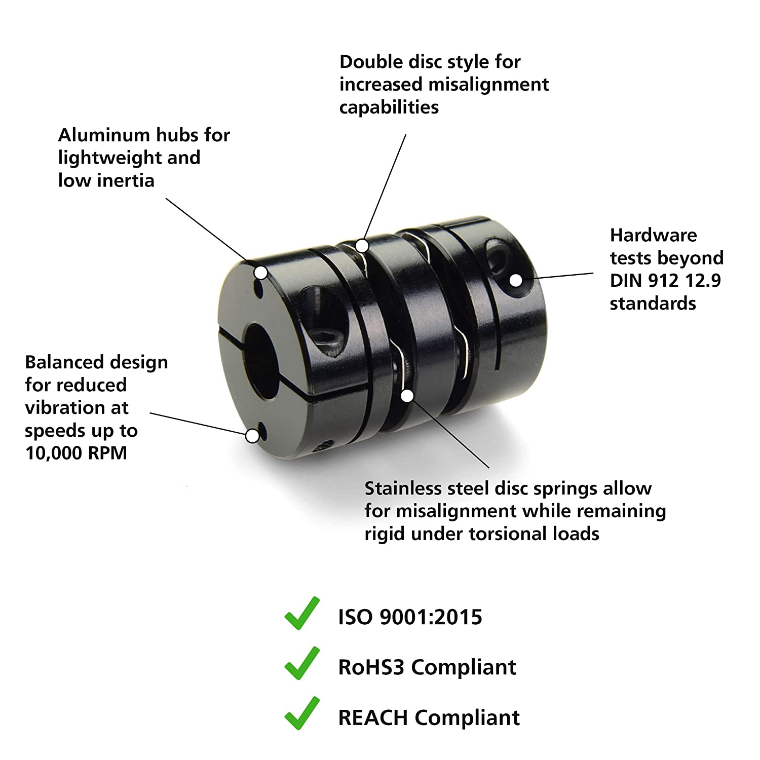 Ruland MBS51-20-15-A 2024 or 7075 Aluminum Hubs Bellows Coupling 50.8 mm OD Set Screw Style 58.7 mm Length 20 mm x 15 mm Bores