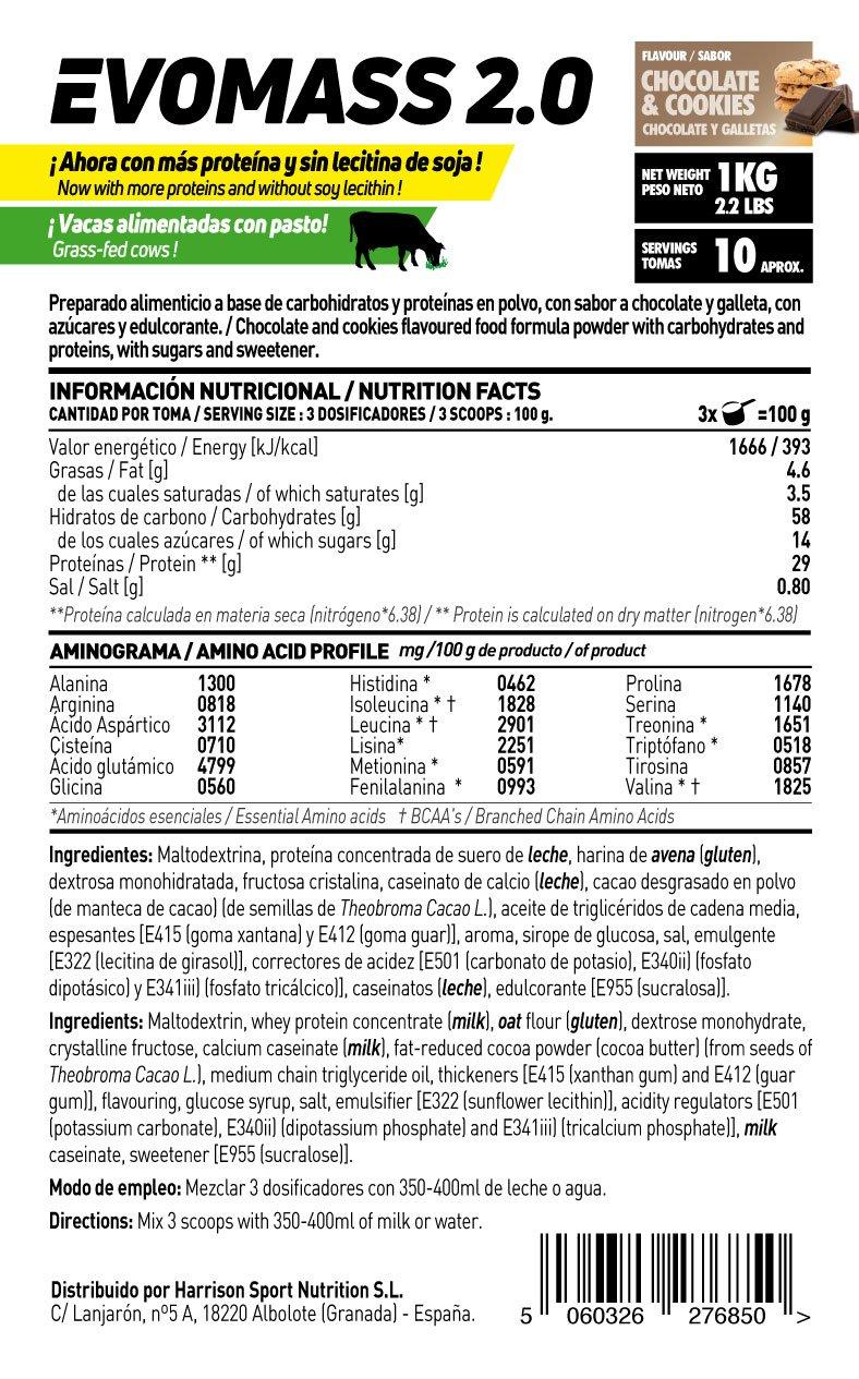 HSN Sports Ganador de Peso Evomass 2.0 Sabor Chocolate y Galletas - 1000 gr: Amazon.es: Salud y cuidado personal