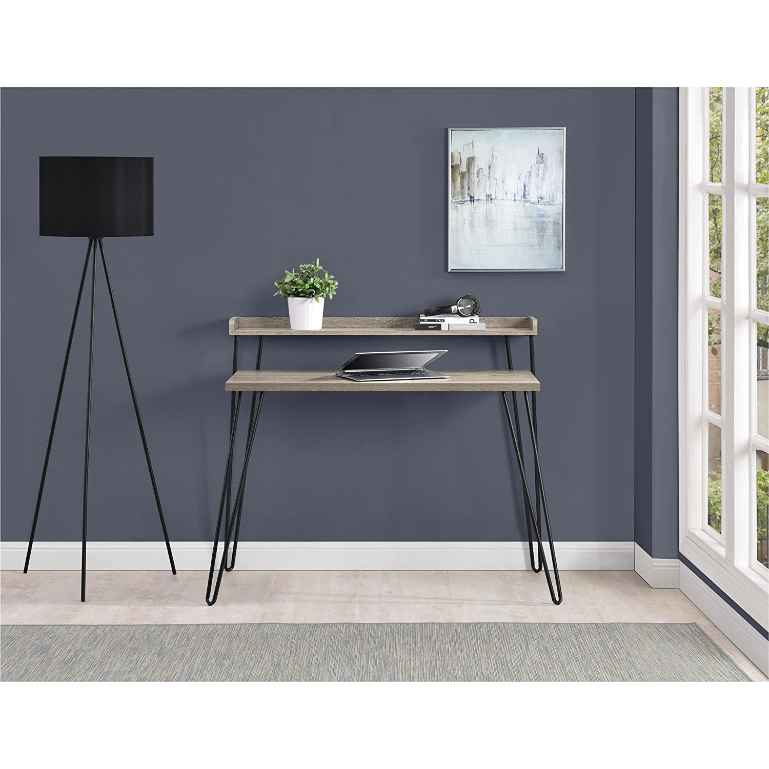 in bark writing modern products com officedesk office shaped desk with hutch u gray