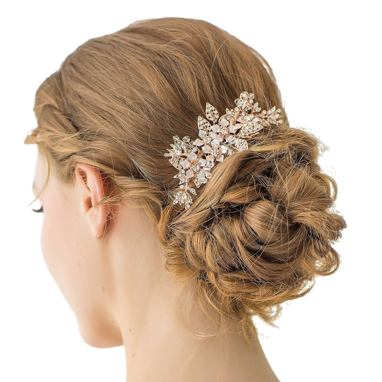 sweetv Rose Gold Hochzeit Kamm Strass Haar Clip handgefertigt Blume Haar Kamm Zubehör für Frauen