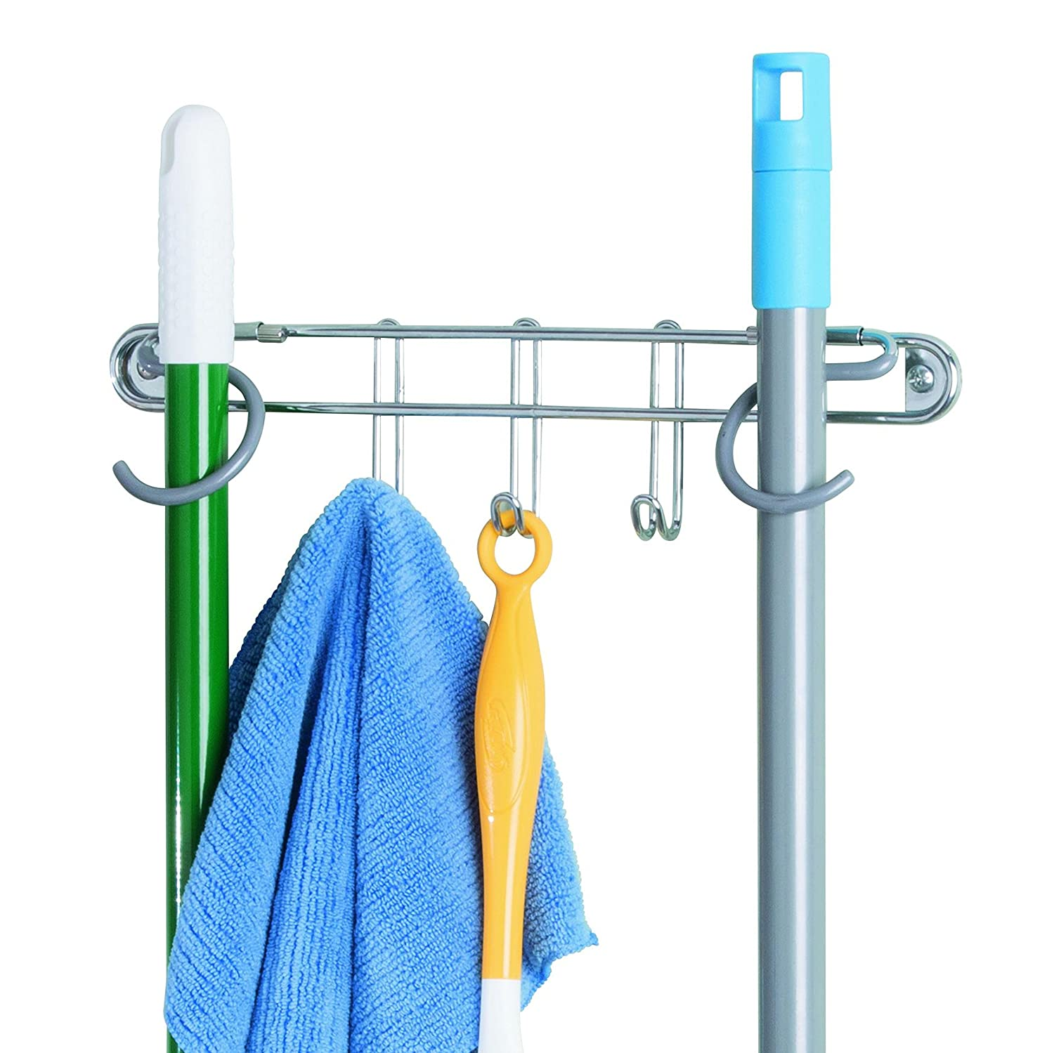 InterDesign Classico Wall Mount Broom and Mop Holder – Hanging Organizer, Chrome/Gray