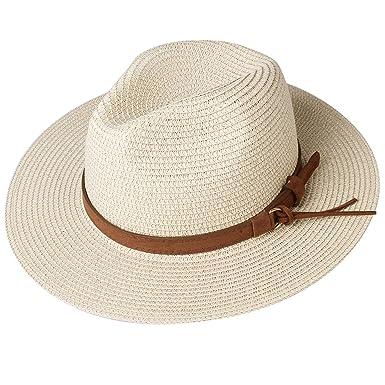 8a18eb9dc52130 FURTALK Panama Hat Sun Hats for Women Men Wide Brim Fedora Straw Beach Hat  UV UPF