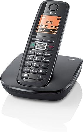 Gigaset A510 - Teléfono fijo digital (inalámbrico, pantalla LCD, indicadores LED), negro: Amazon.es: Electrónica