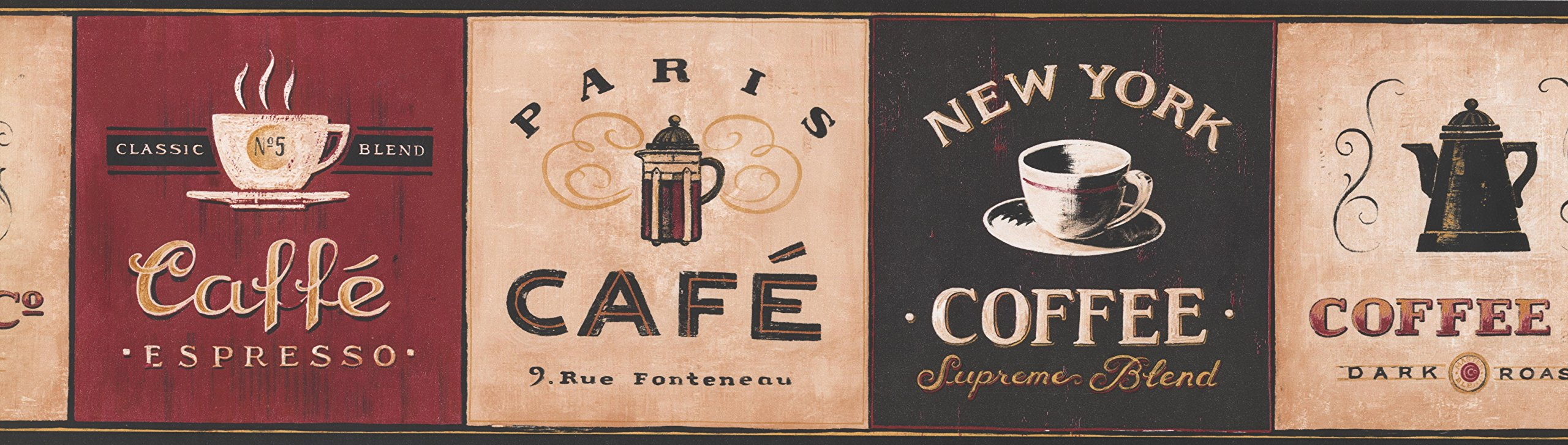 Coffee Wallpaper Border - Kitchen Prepasted Wall Border 330809