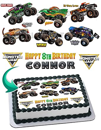 Monster Truck Monster Jam Grave Digger Edible Image Cake Topper Party Personalized 1 4 Sheet Amazon Com Grocery Gourmet Food