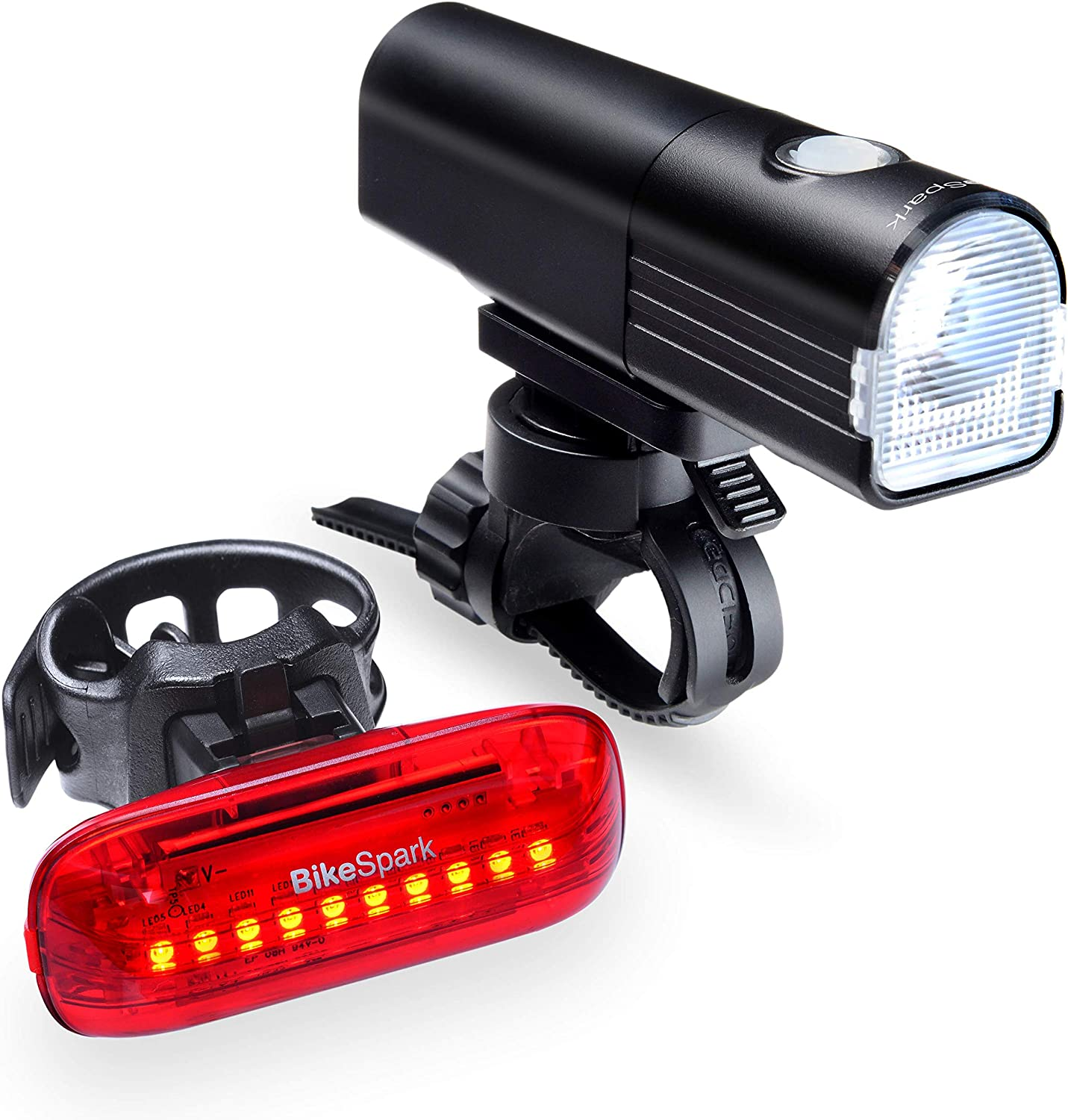BikeSpark USB Rechargeable Combo Set F3 800lm LG3350mAh Front Light G3 35lm Motion-Sensing Rear Light, Auto On Off Deceleration Flash, IPX5 Strap Mounting for Fast Installation