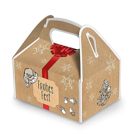 5 cajas pequeñas Navidad Cajas de regalo rojo beige de color marrón blanco (9 x