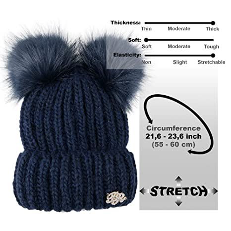 f61d4b66cba Braxton Beanie Women - 2 Pom Cable Knit Winter Warm Fleece Hat - Wool Snow  Cuff Blue Ski Cap at Amazon Women s Clothing store