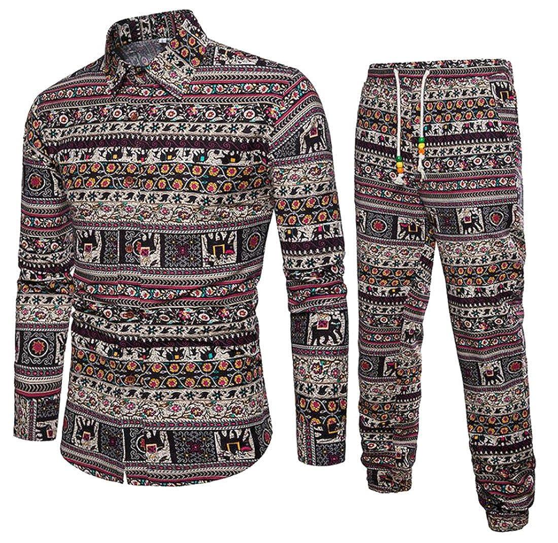 MOUTEN-Men Pants Loose Button Down Shirt Linen African Print 2 Pieces Set Outfits