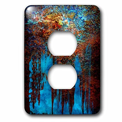 3dRose Anne Marie Baugh   Abstract   Blue And Metallic Look Abstract  Painting   Light Switch