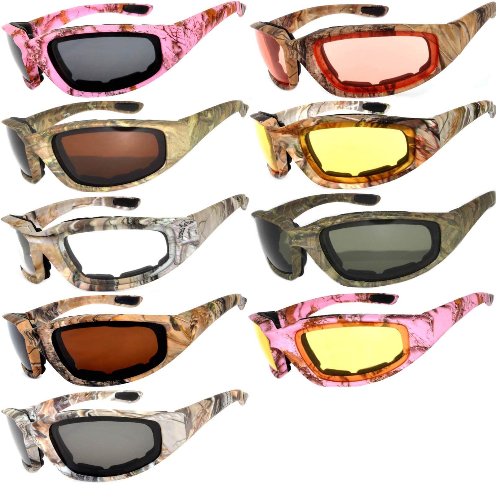 Womens Pink Padded Foam Motorcycle Biker Glasses Goggles 99% UV protection (Camo_Mix_9p, Colored)