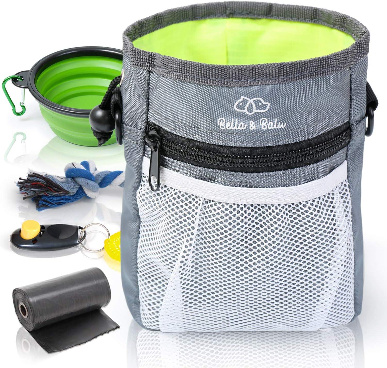 Bella & Balu Bolsa de Entrenamiento para Perros + Bebedero Plegable + Clicker + Bolsas para excrementos + Juguete de Cuerda – Práctica Bolsa para chucherías de Perro (Verde)