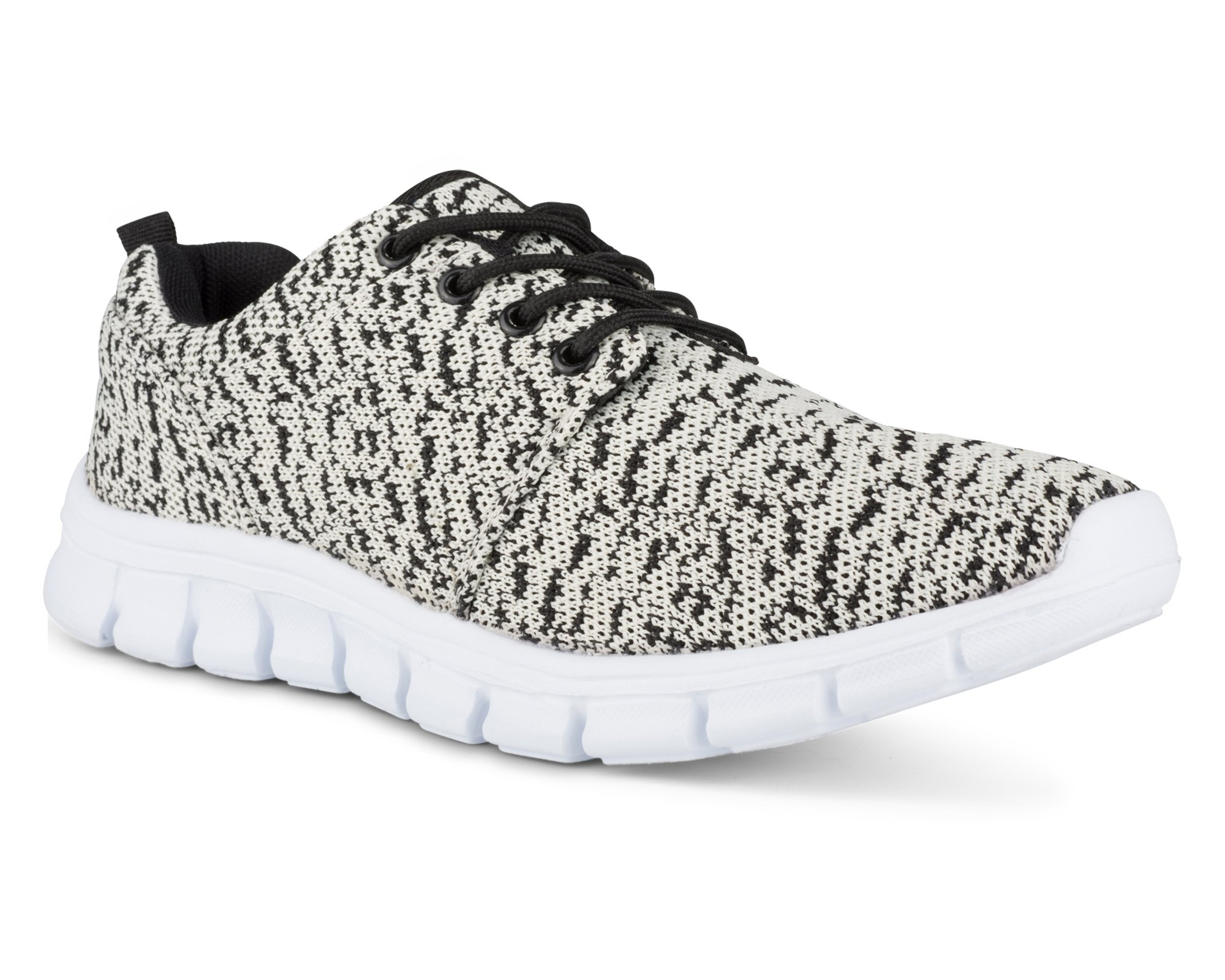 Twisted Womens Reese Athletic Knit Fashion Running Sneaker - Cream/Black, Size 8