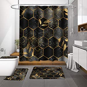 MitoVilla Geometric Black Grey Marble Shower Curtain Set, Abstract Ombre Hexagon Plaid with Gold Leaf Bathroom Sets with Shower Curtain and Rugs and Accessories for Luxury Modern Bathroom Decor, Gray