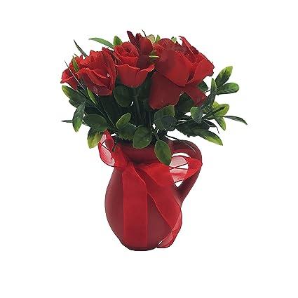 ChosenTech Flores artificiales incluyen botella de cerámica para receptáculo, flor de plástico con asa de