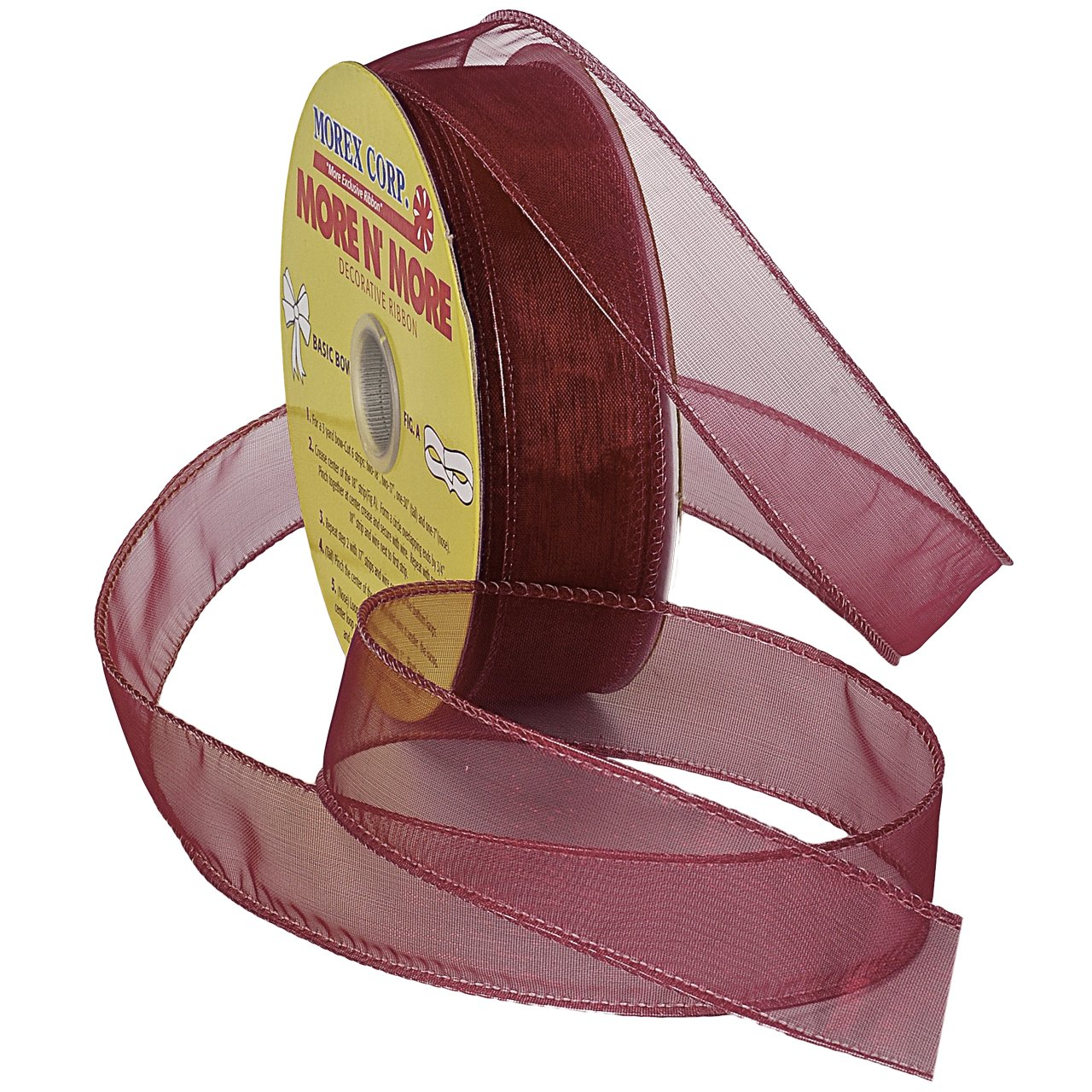 Morex Ribbon Wired 1-Inch Chiffon Ribbon with 25-Yard Spool, Burgundy by Morex Ribbon   B00D9JQNZU
