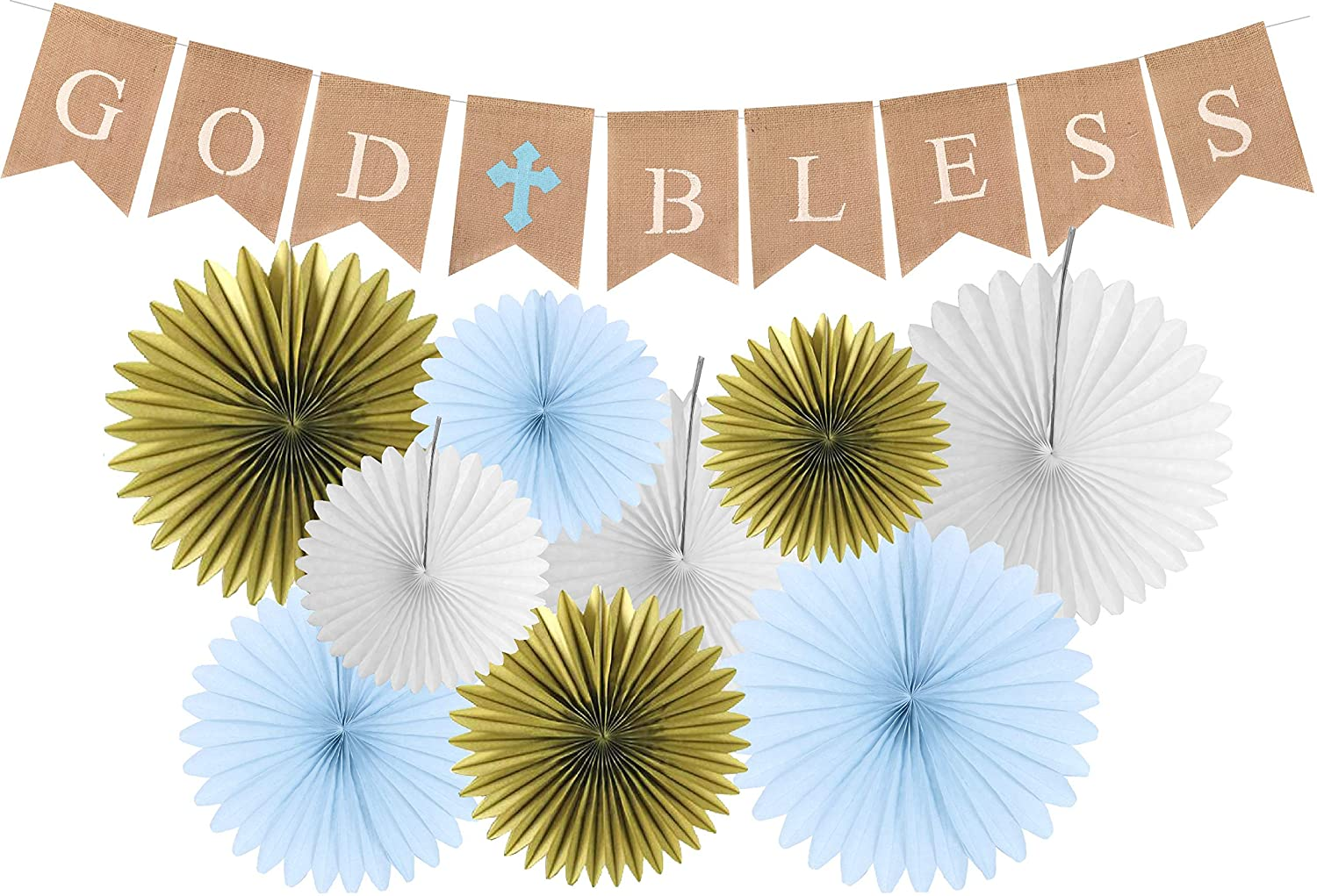 MEANT2TOBE God Bless Baptism Banner | First Communion Party Banner | Christening Decorations for Wedding | Baby Baptism Decorations for Boys | 9 Premium Glittering Matching Paper Fans