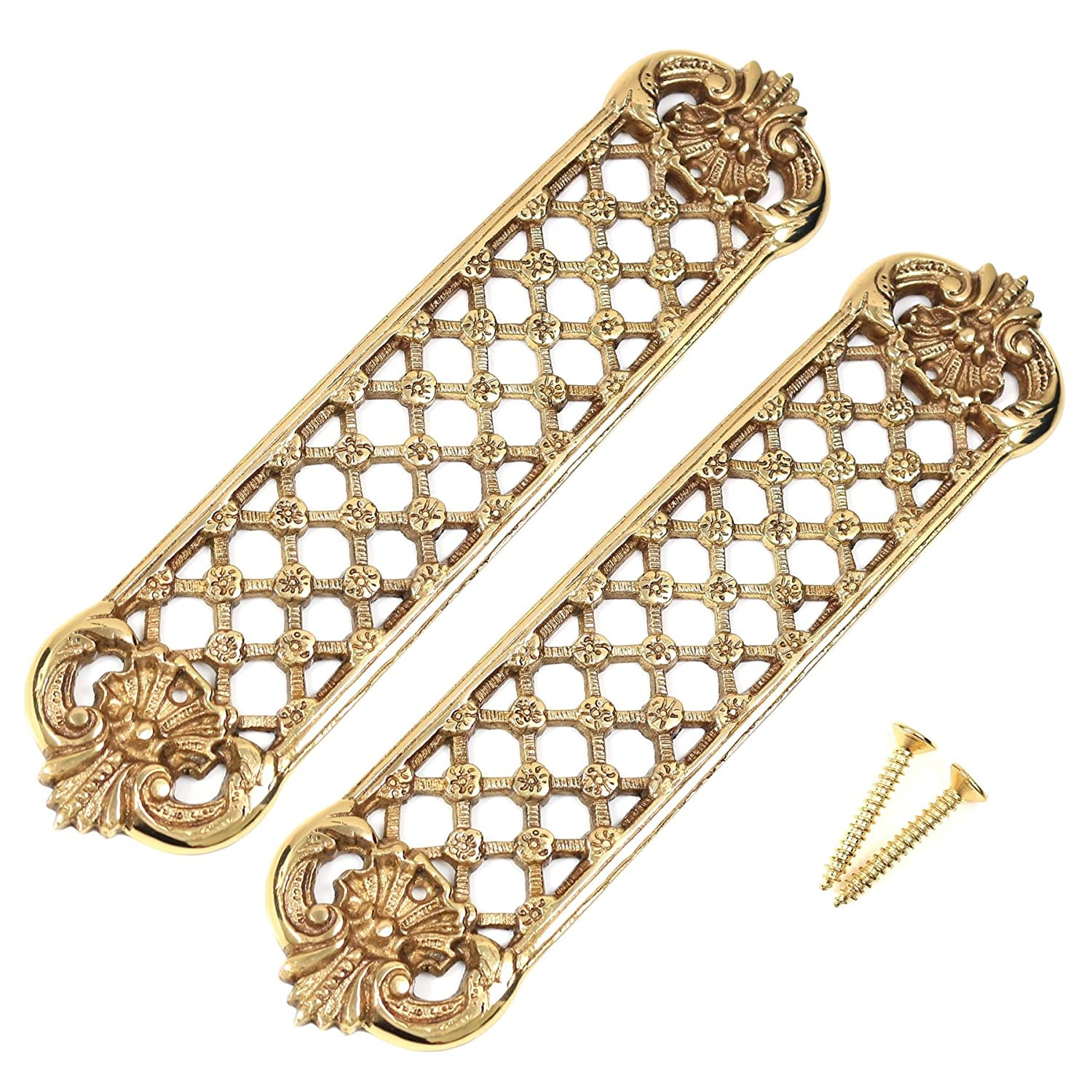2x Large Trellis Solid Brass Finger/Push Plates - Heavyweight Victorian Door Pushes White Hinge