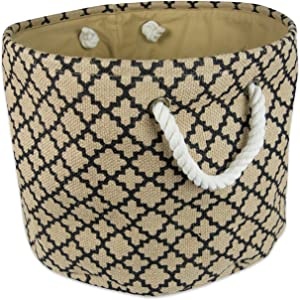 """DII Collapsible Burlap Storage Basket or Bin with Durable Cotton Handles, Home Organizational Solution for Office, Bedroom, Closet, Toys, & Laundry (Large Round - 16x15""""), Black Lattice Outline"""