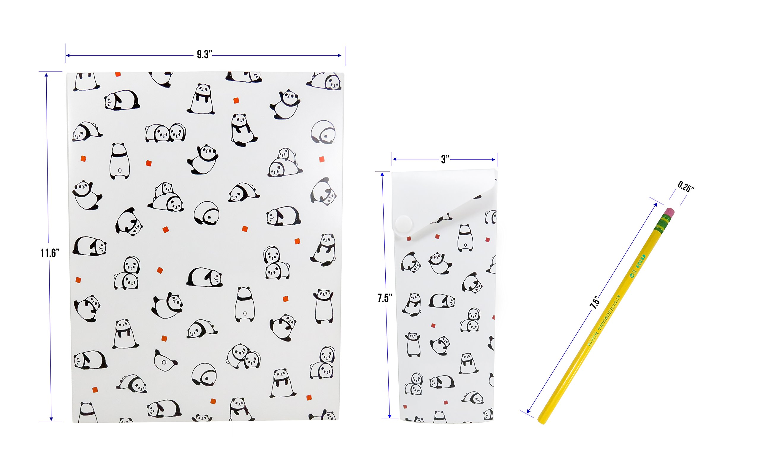 Cute 2-Pocket Panda Plastic Glossy Folder with Pencil Pen Case and 2 Yellow Unsharpened Pencils (5 Piece Set) by Mixed (Image #4)