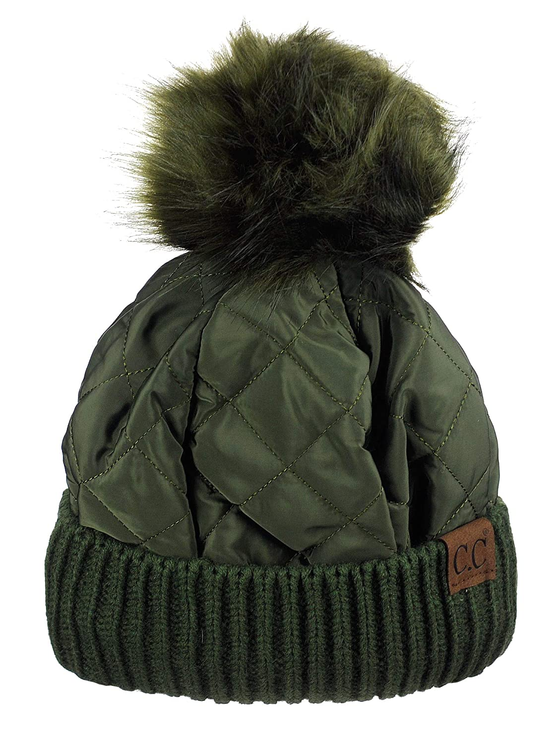 b6fb9089d50 C.C Soft Quilted Puffer Detachable Faux Fur Pom Inner Lined Cuff Beanie Hat