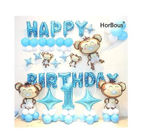 HorBous 1 año de edad, bebé, niños, cumpleaños, globo, decoración, 1ra fiesta, globo, decoración, conjunto, rosa/azul (Azul)